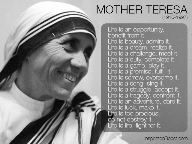 Mother Teresa Life Quotes Inspiration Boost