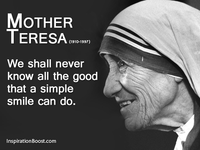 Mother Theresa Quotes | Mother Teresa Smile Quote Inspiration Boost